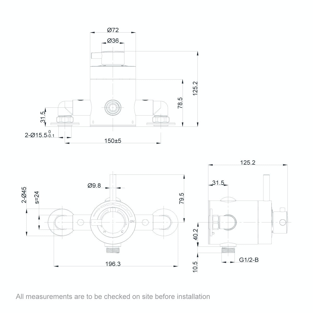 Dimensions for Orchard Minimalist exposed thermostatic shower valve