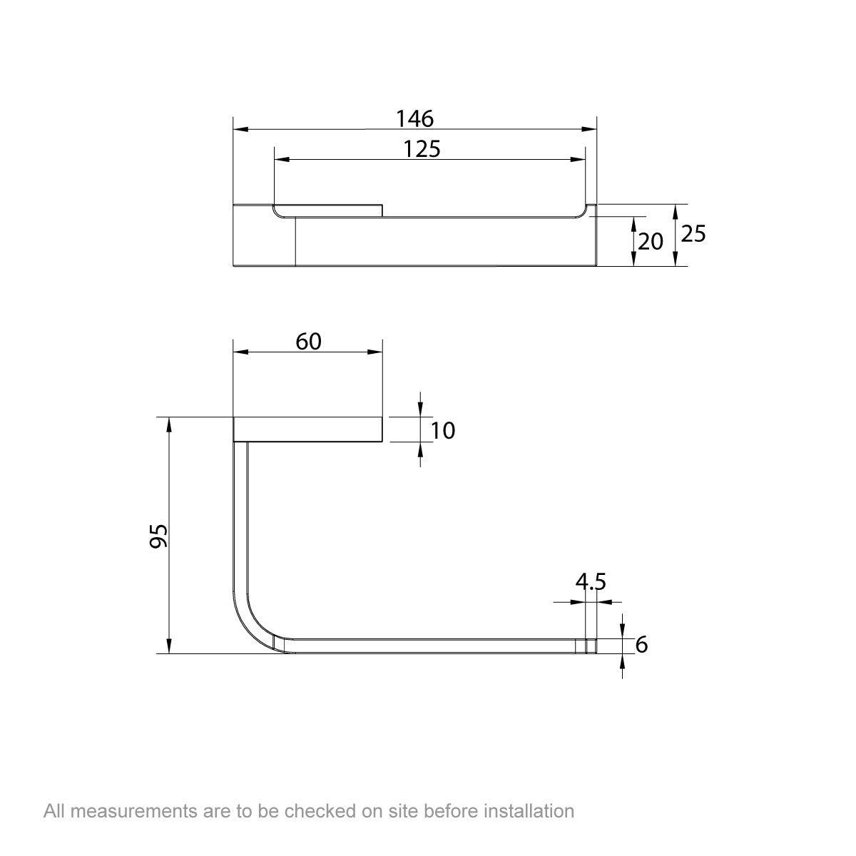 Dimensions for Mode Spencer toilet roll holder