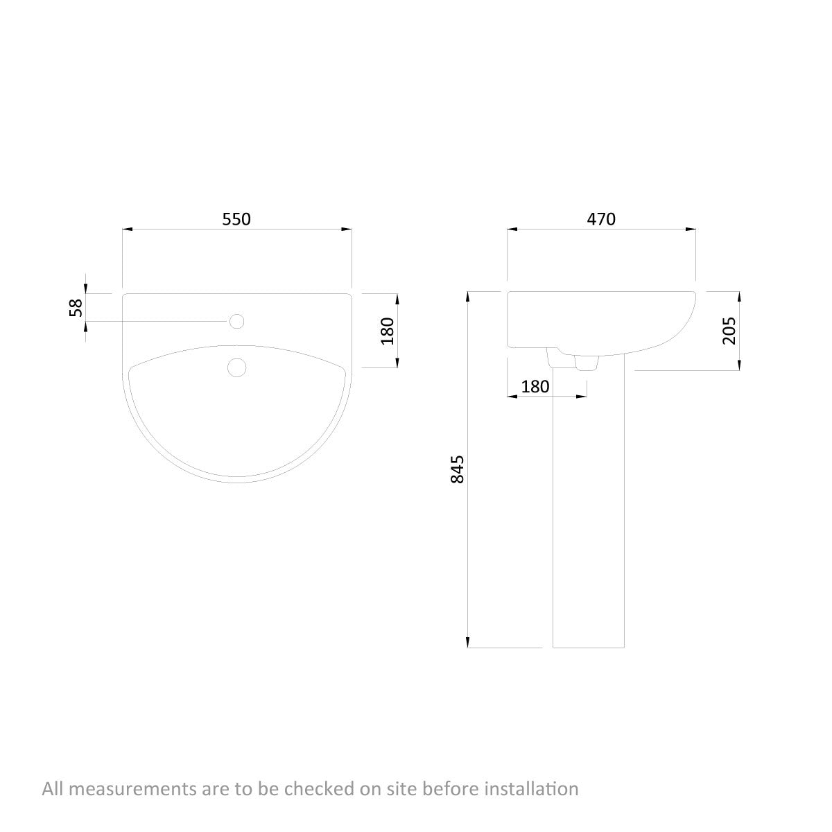 Dimensions for Orchard Derwent round 1 tap hole full pedestal basin 550mm