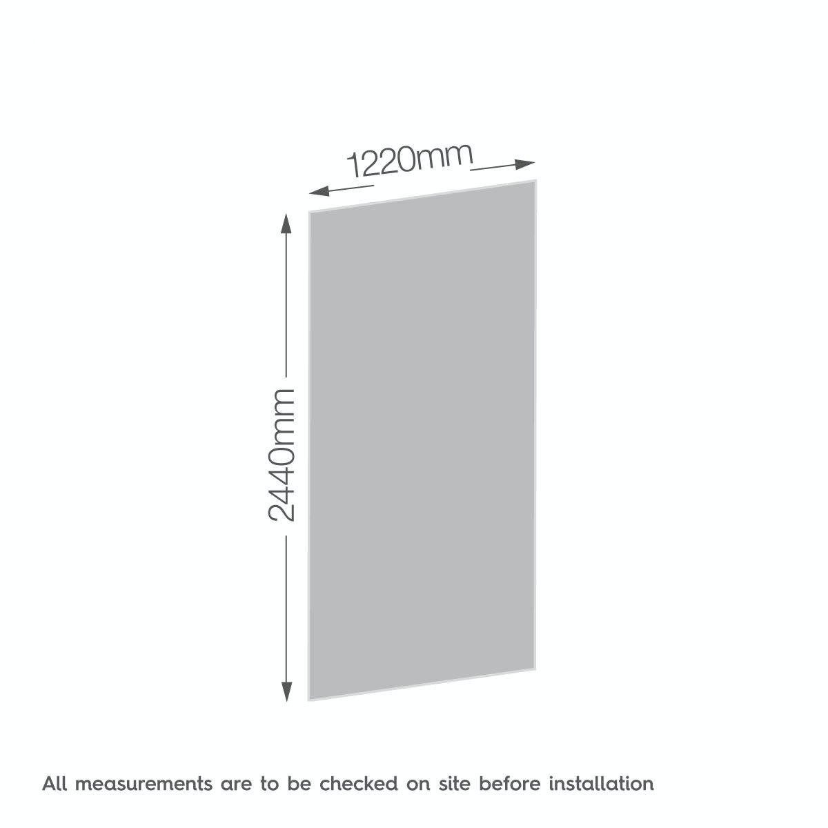 Dimensions for Zenolite plus fire acrylic shower wall panel 2440 x 1220