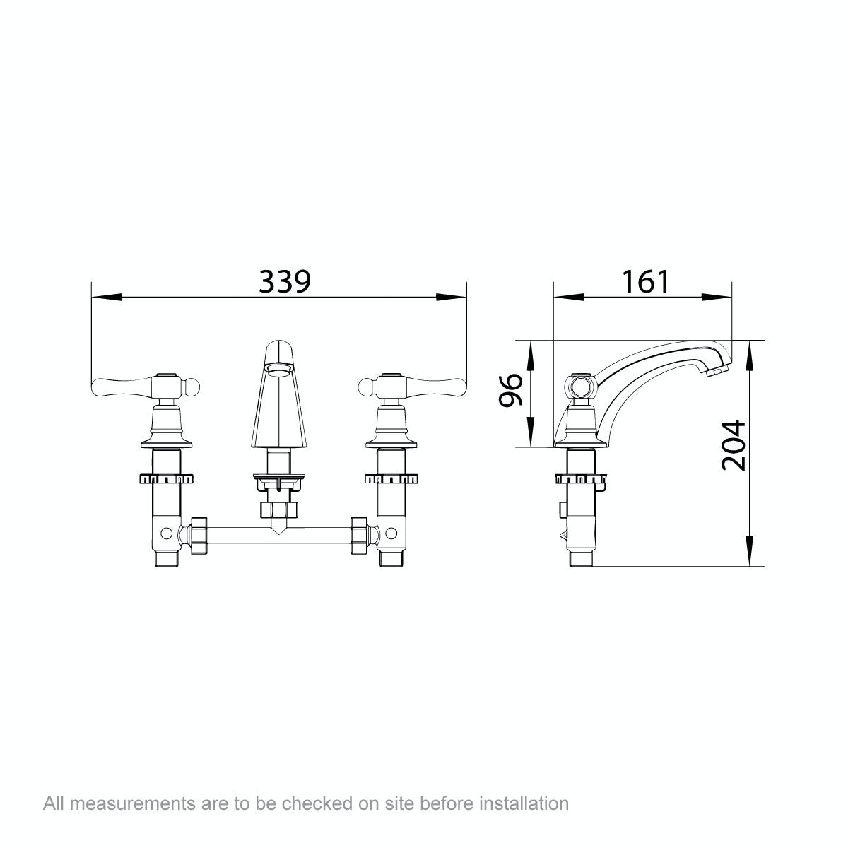 Dimensions for The Bath Co. Camberley lever 3 hole basin mixer tap