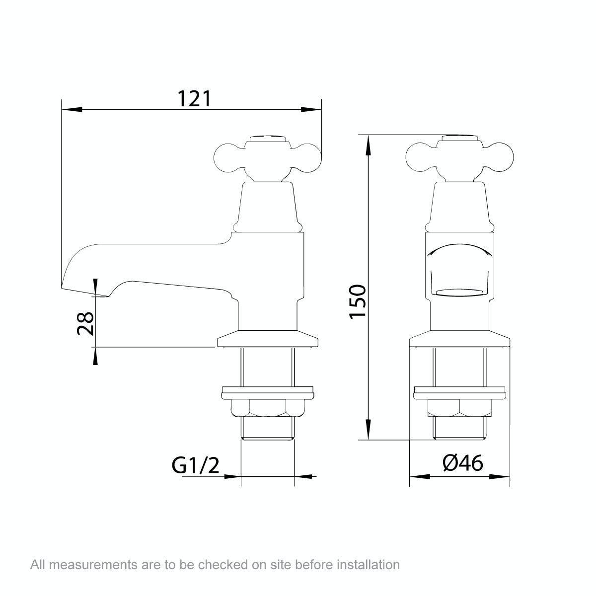 Dimensions for The Bath Co. Camberley basin pillar taps