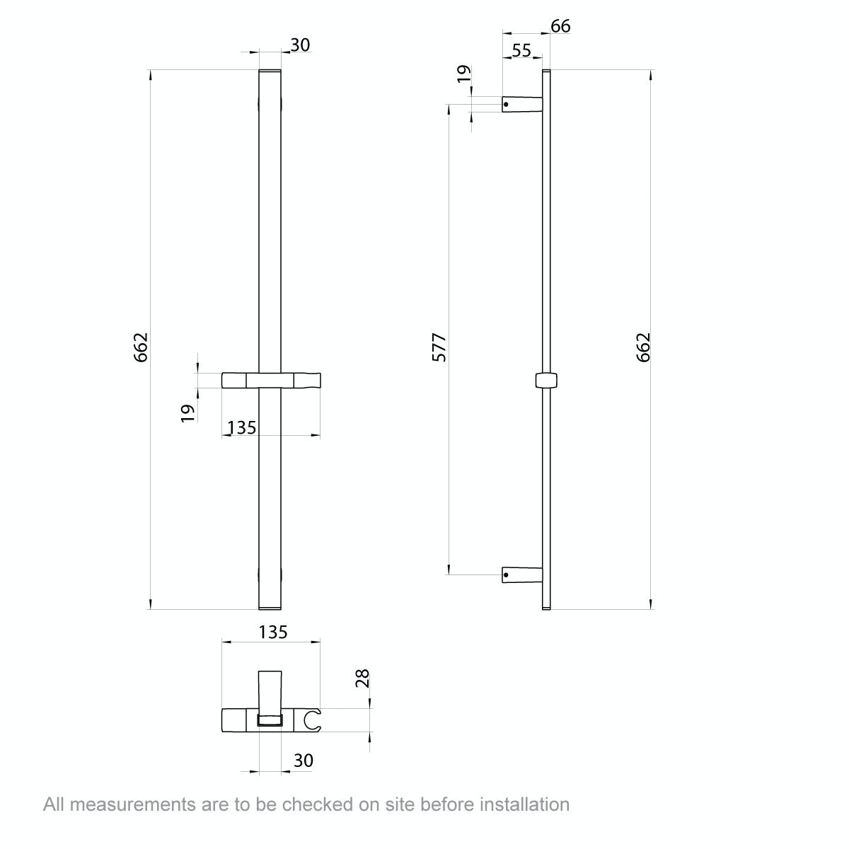 Dimensions for Flex Slider Rail Kit