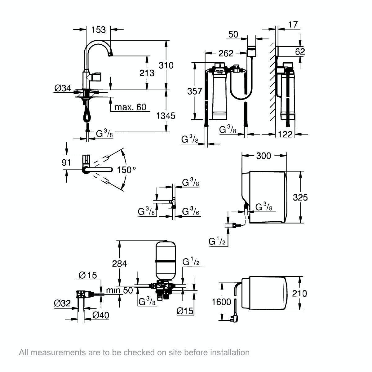Dimensions for Grohe Red Mono C spout boiling water kitchen tap