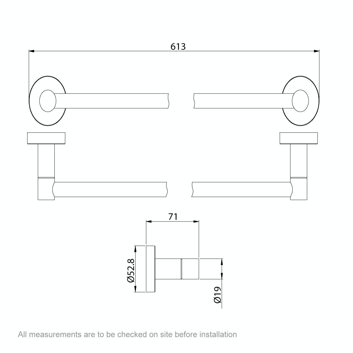 Dimensions for Orchard Lunar single towel rail