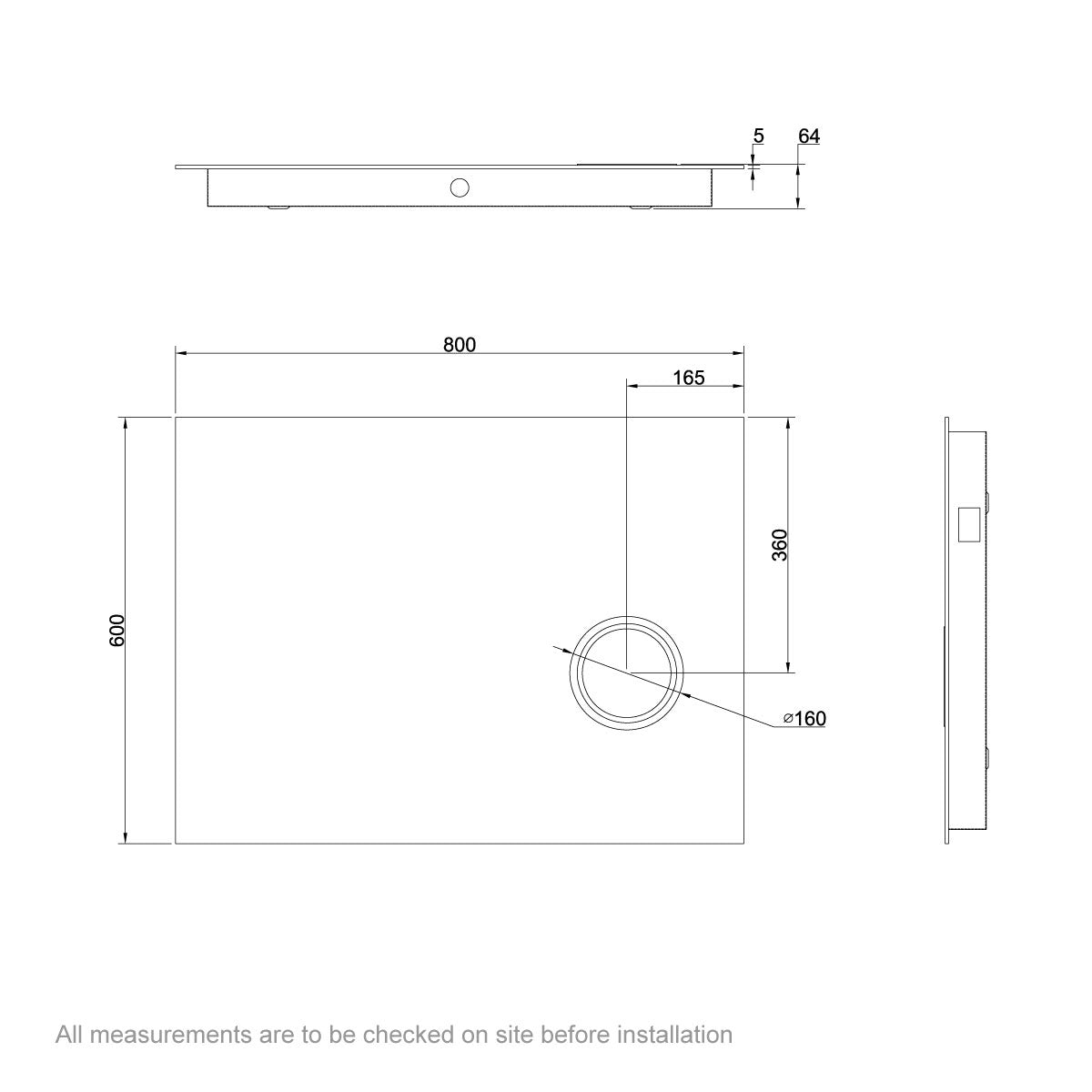 Dimensions for Mode Aurora rectangular LED mirror