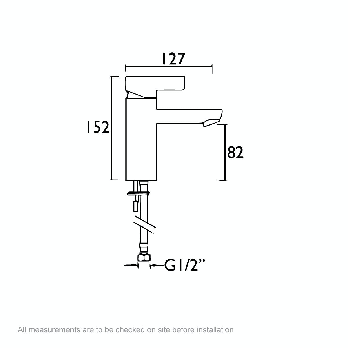 Dimensions for Bristan Clio basin mixer tap