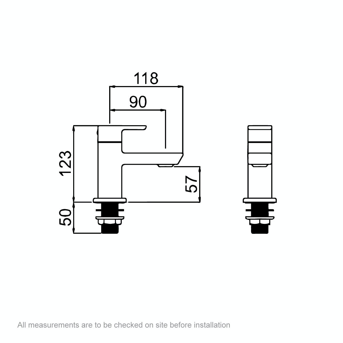 Dimensions for Bristan Cobalt bath taps
