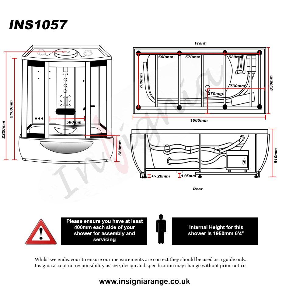 Dimensions for Insignia rectangular steam shower bath cabin 1650 x 850