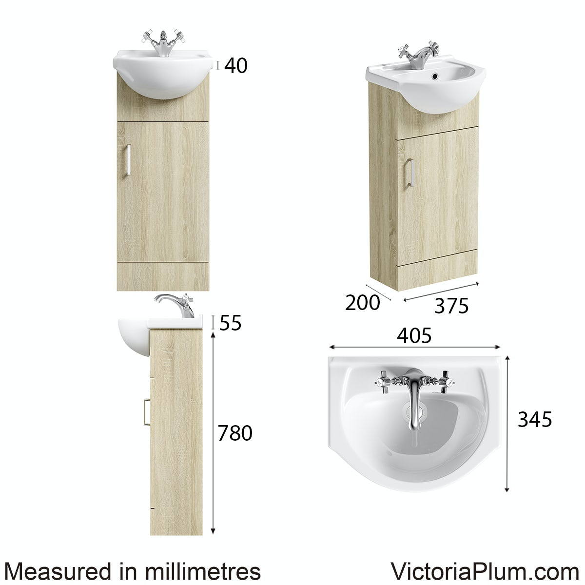 Dimensions for Orchard Eden oak vanity unit and basin 410mm