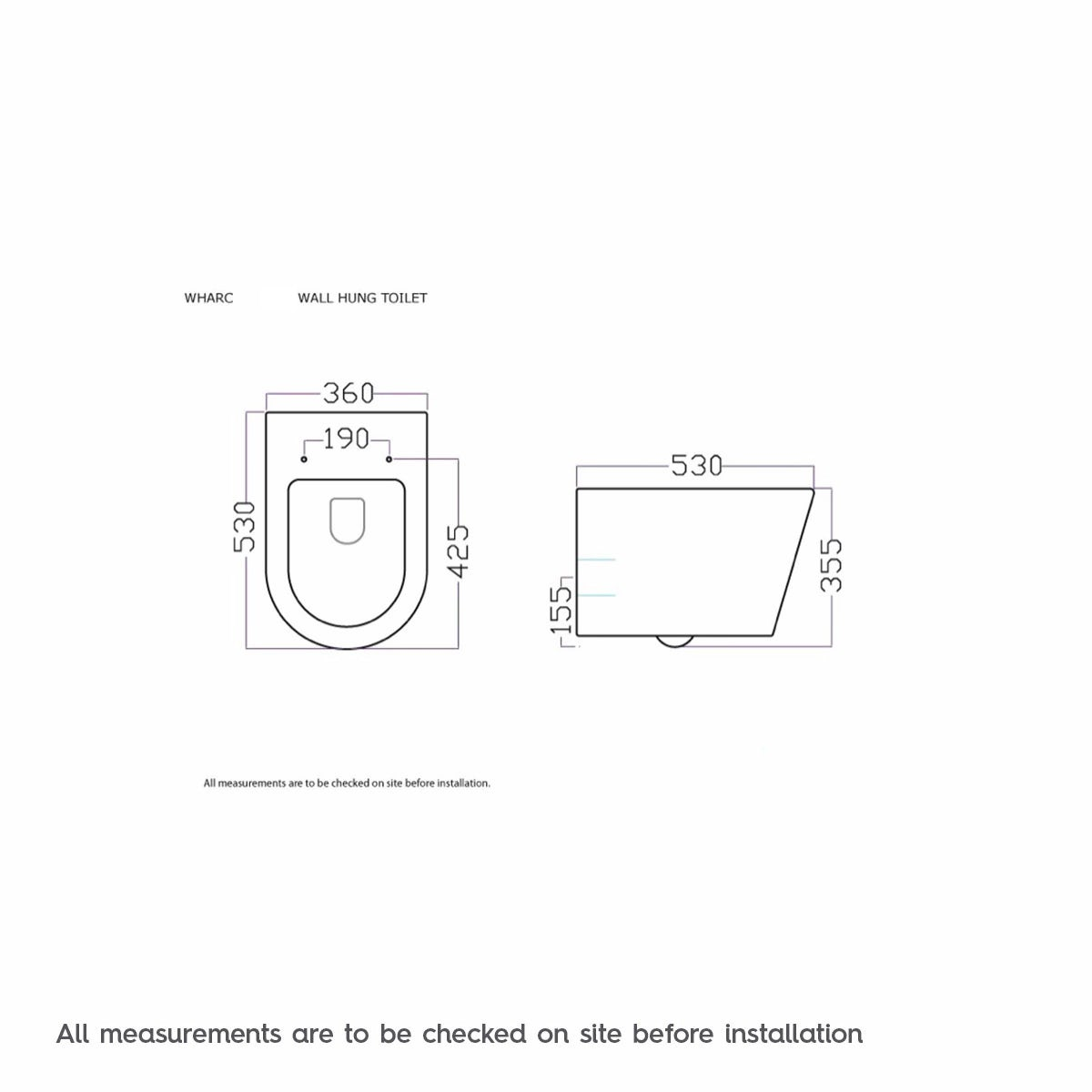 Dimensions for Mode Arte wall hung toilet inc slimline soft close toilet seat