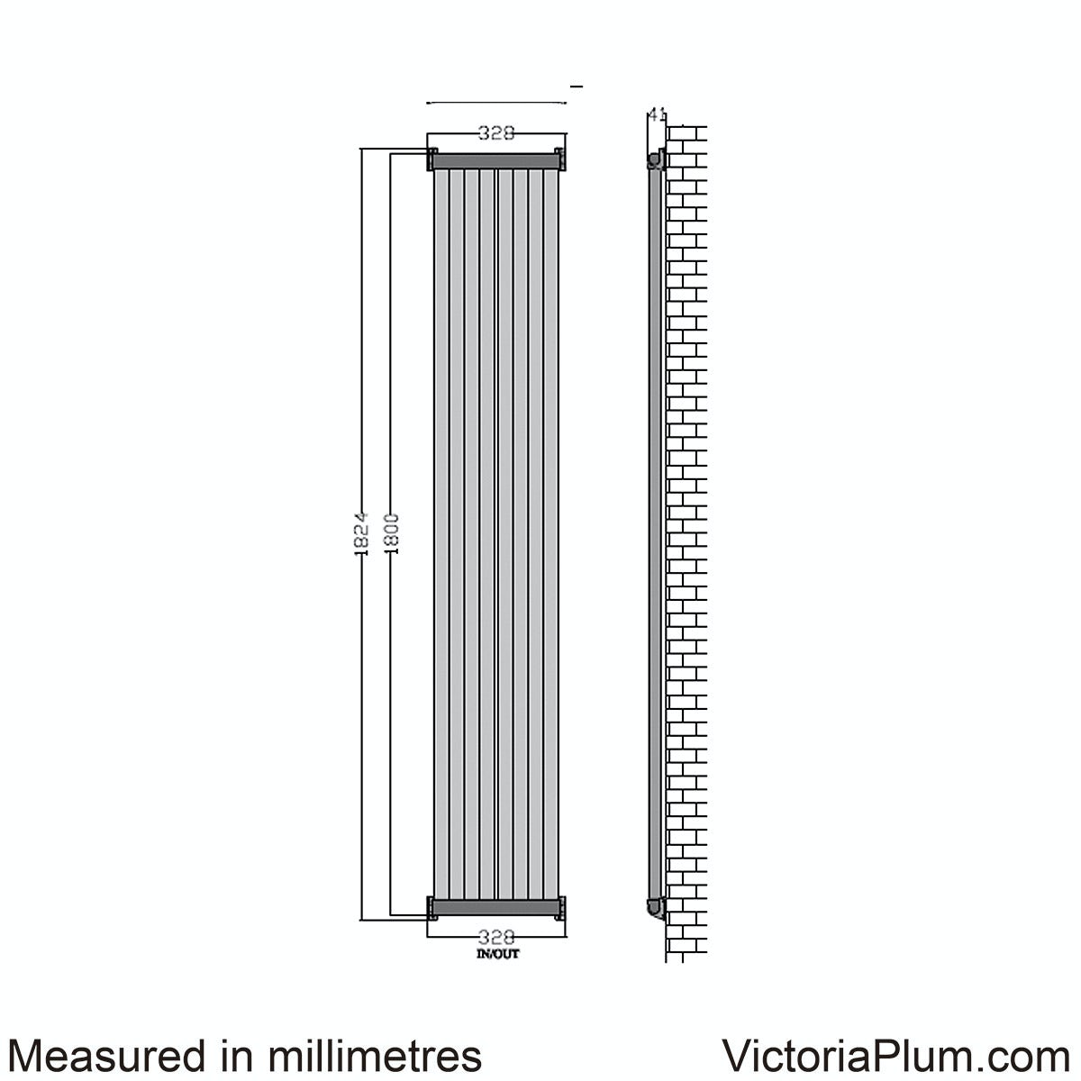 Dimensions for Mode Zephyra vertical radiator 1800 x 328