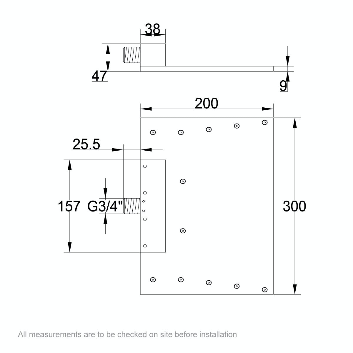 Dimensions for Mode Ando waterfall spout