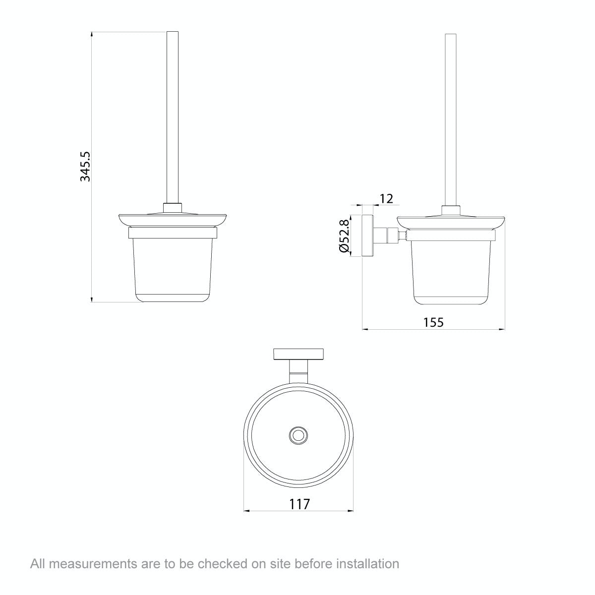 Dimensions for Orchard Lunar toilet brush and holder