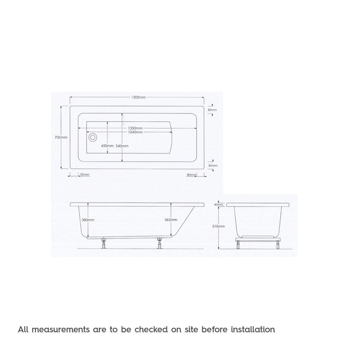 Dimensions for Mode Kensington single end 6 jet whirlpool bath 1500 x 700