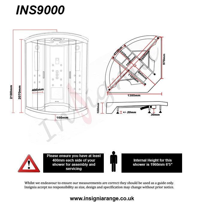 Dimensions for Insignia quadrant steam shower cabin 1350 x 1350