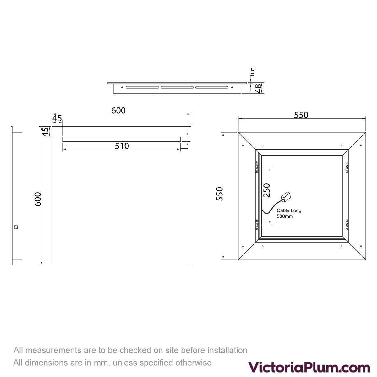 Dimensions for Mode Rossi LED Mirror with under light 600mm