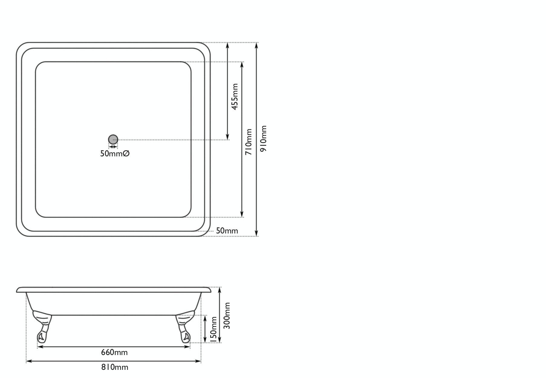 Dimensions for The Bath Co. Lewes keystone grey cast iron shower tray