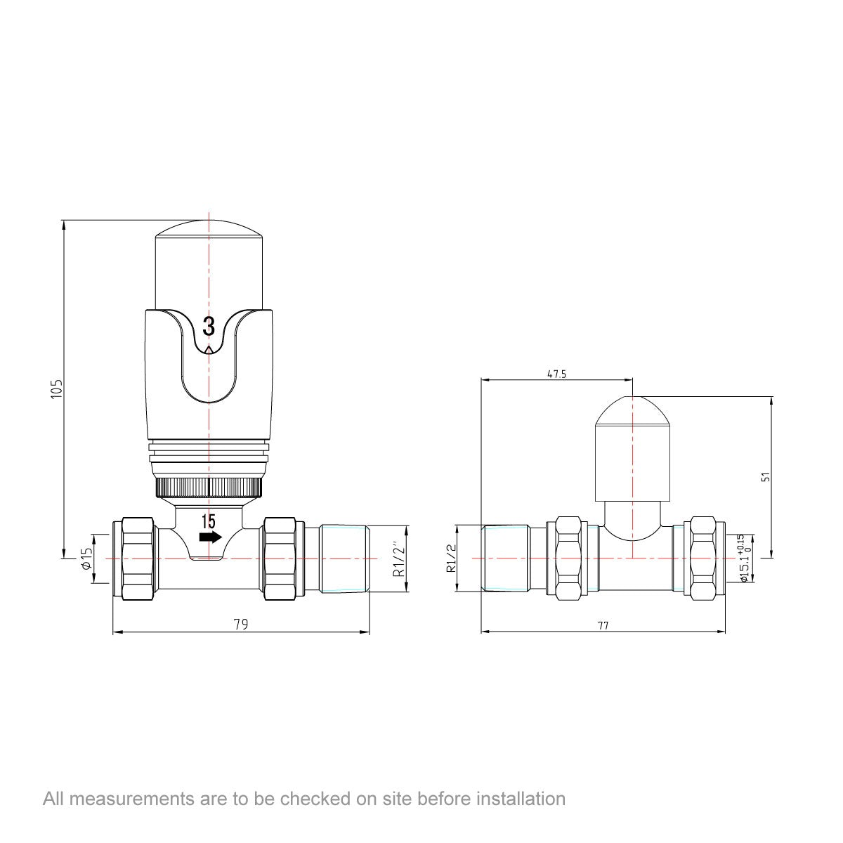 Dimensions for Orchard Thermostatic chrome straight radiator valves