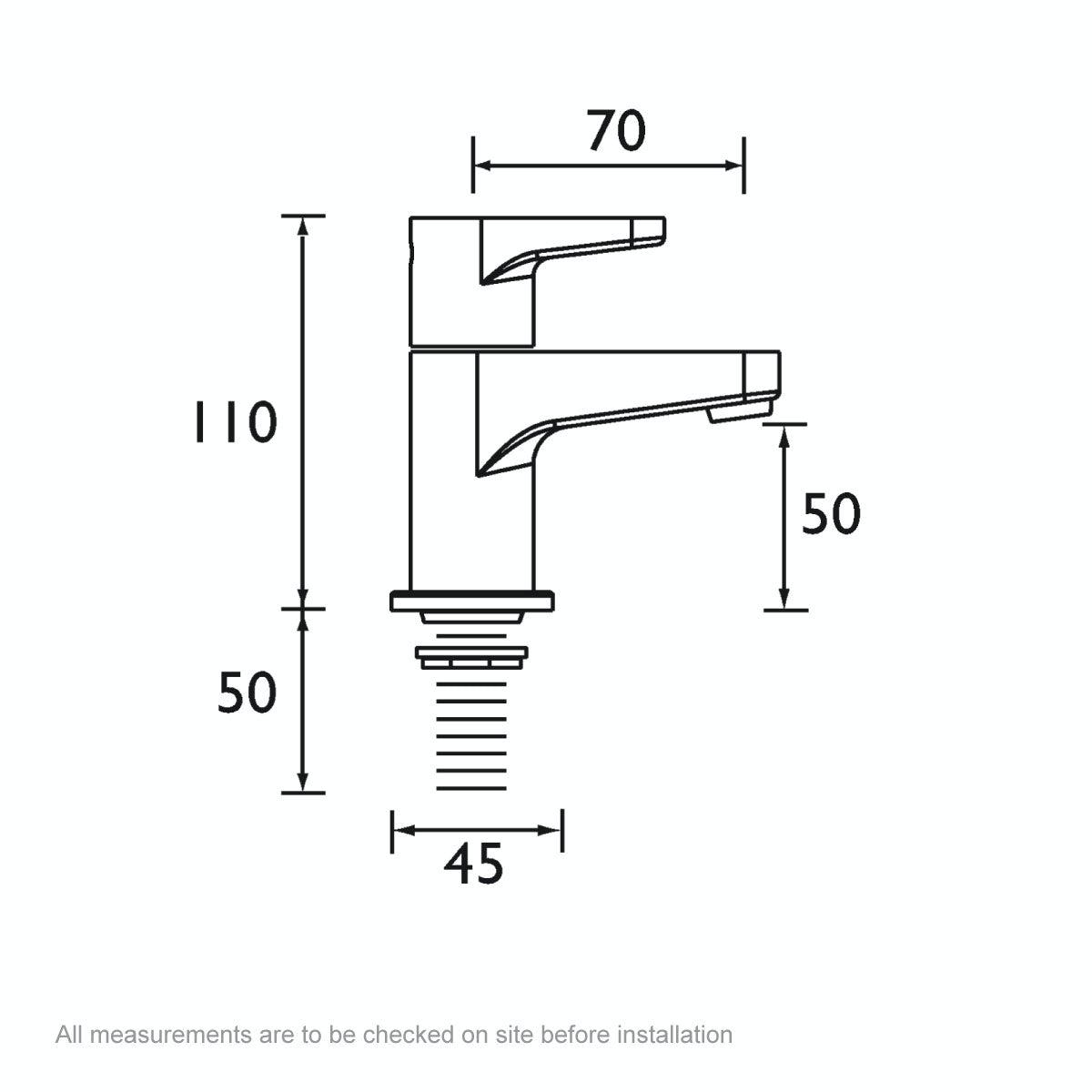 Dimensions for Bristan Quest basin taps