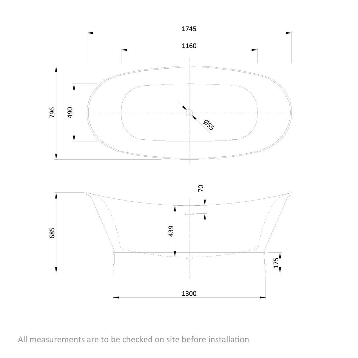 Dimensions for Belle de Louvain Balthus stone effect freestanding bath 1745 x 795