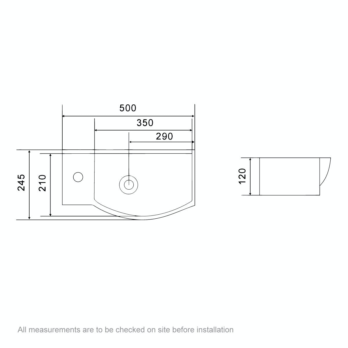 Dimensions for Orchard Lugano 1 tap hole basin 505mm