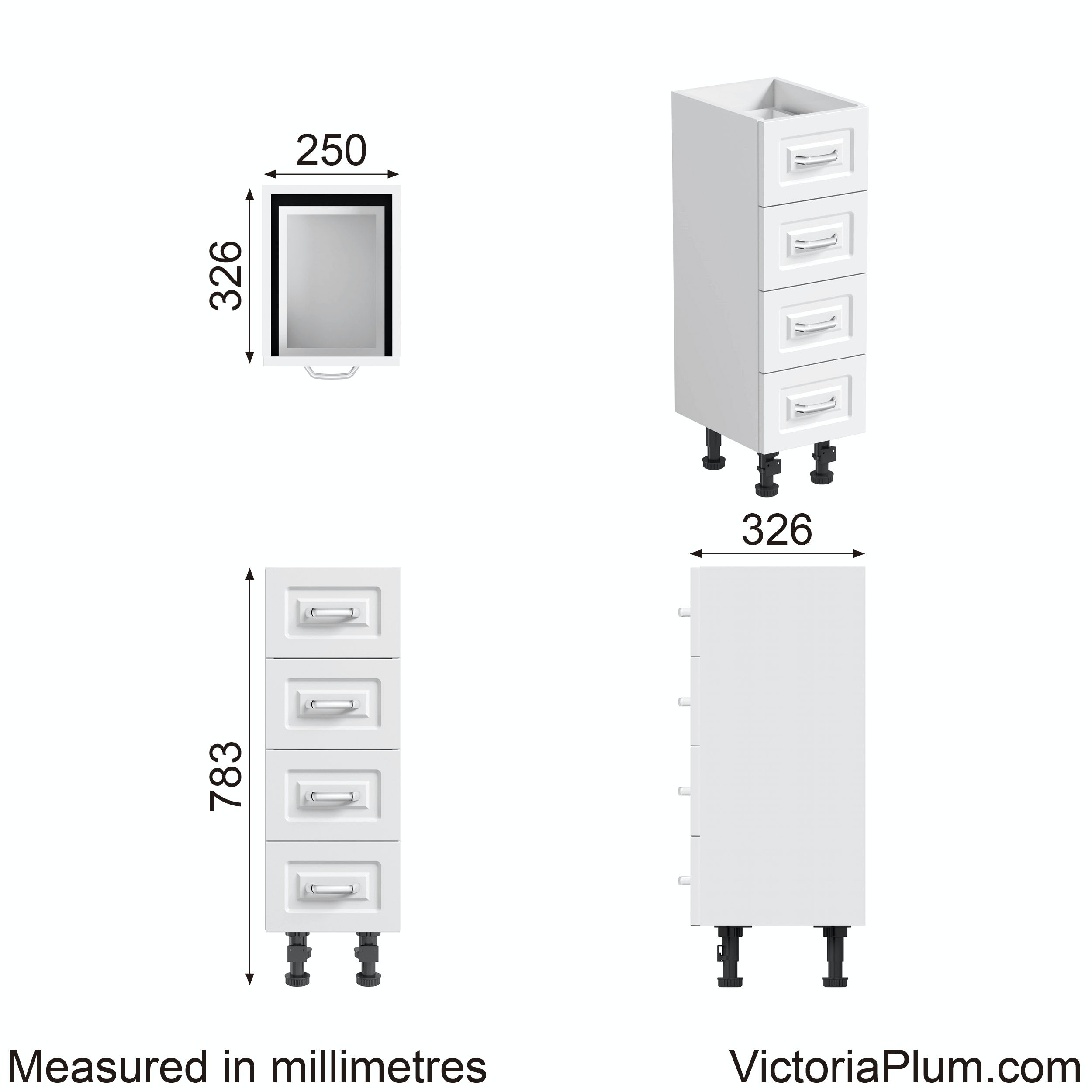 Dimensions for Orchard Florence white multi drawer unit 250mm