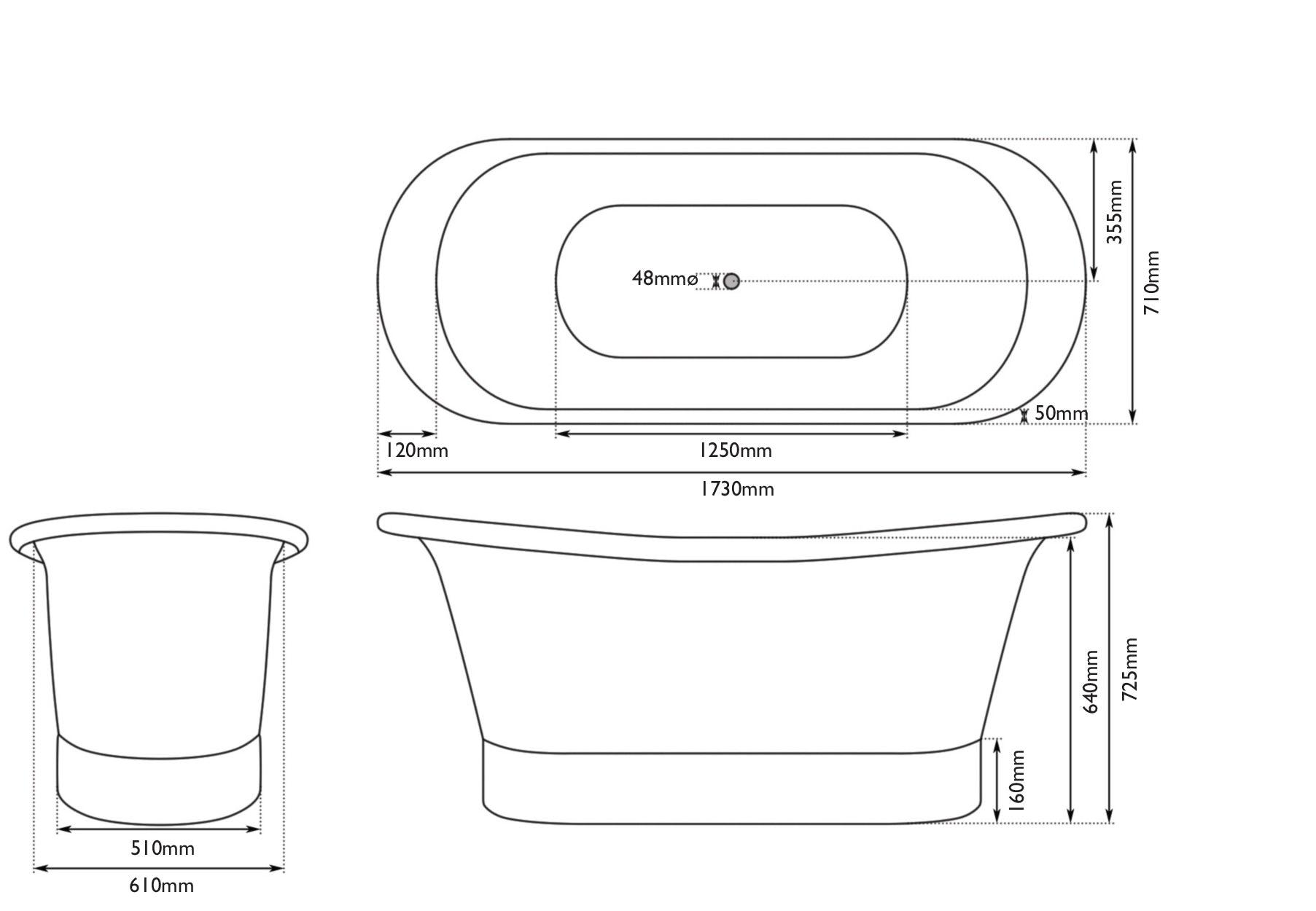 Dimensions for Belle de Louvain Rembrandt tin bath