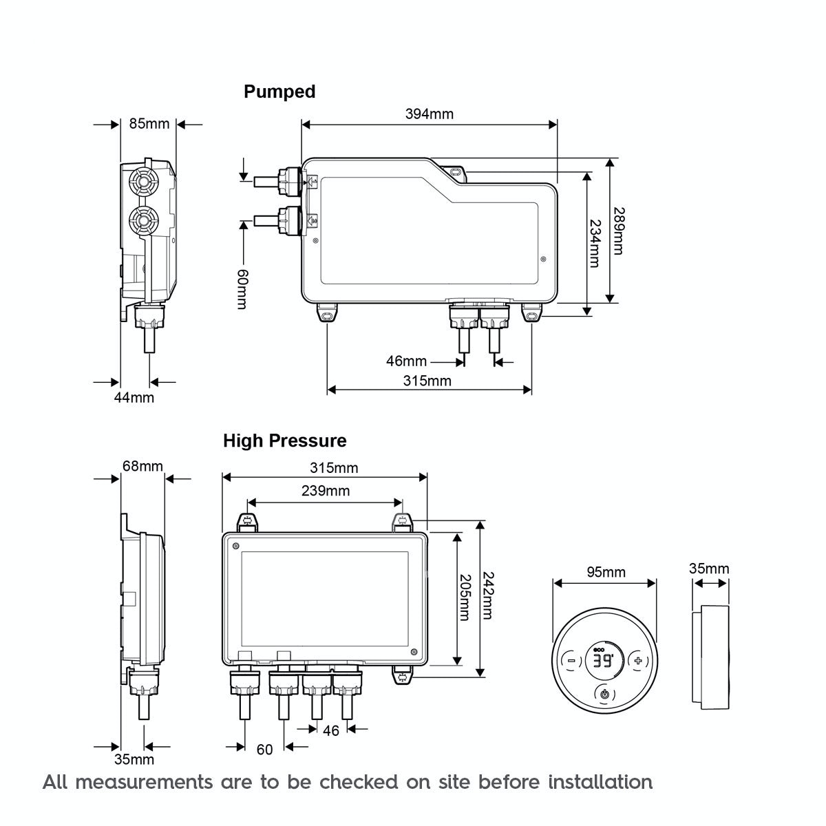 Dimensions for Mira Platinum digital shower valve and controller pumped