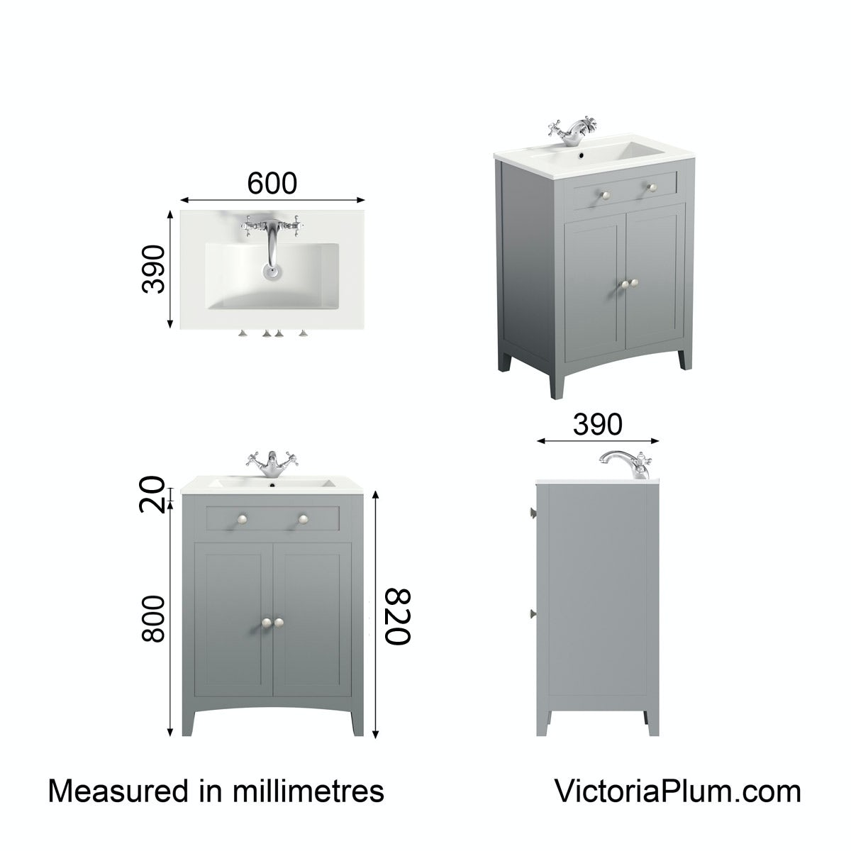 Dimensions for The Bath Co. Camberley satin grey vanity unit with basin 600mm