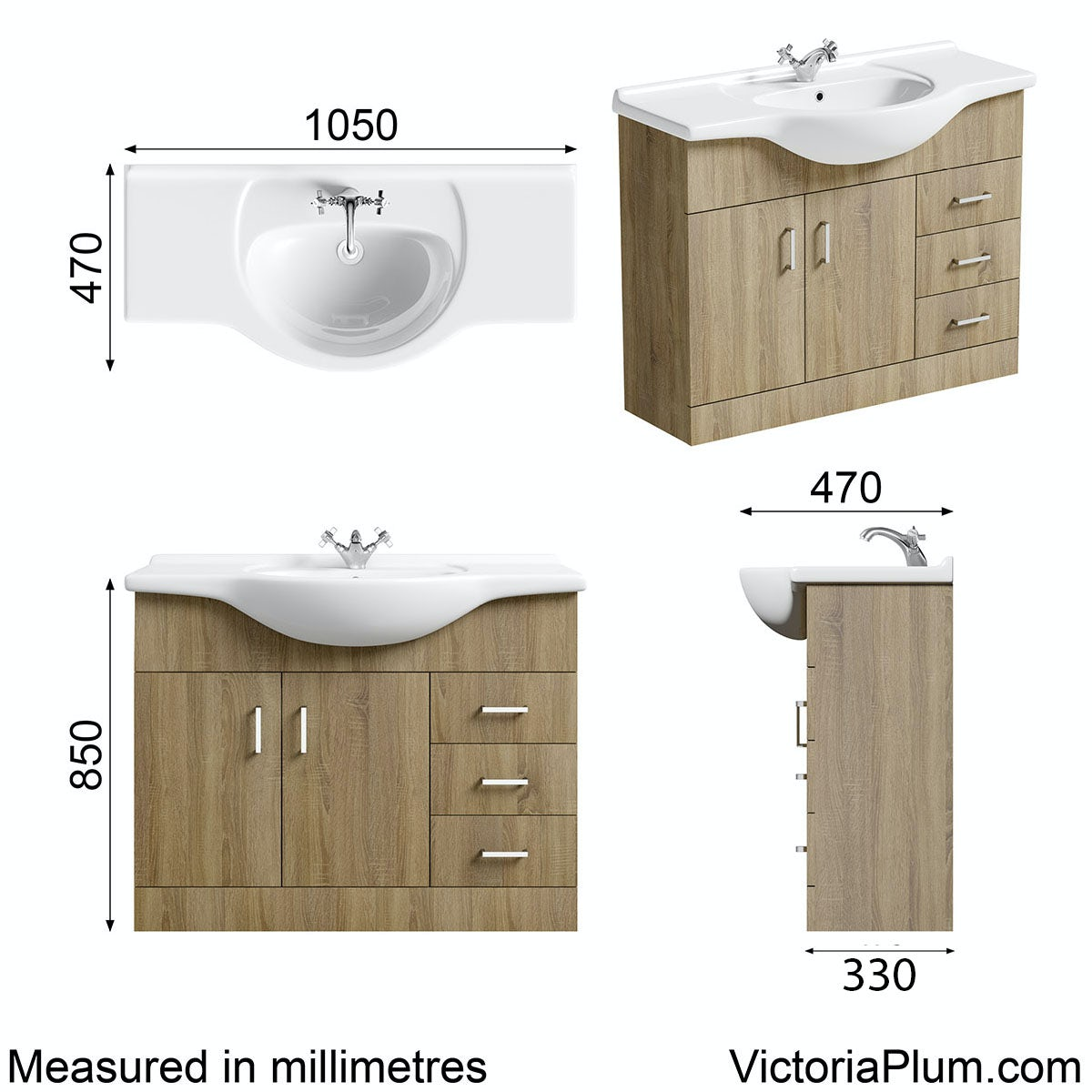 Dimensions for Orchard Eden oak vanity unit and basin 1050mm