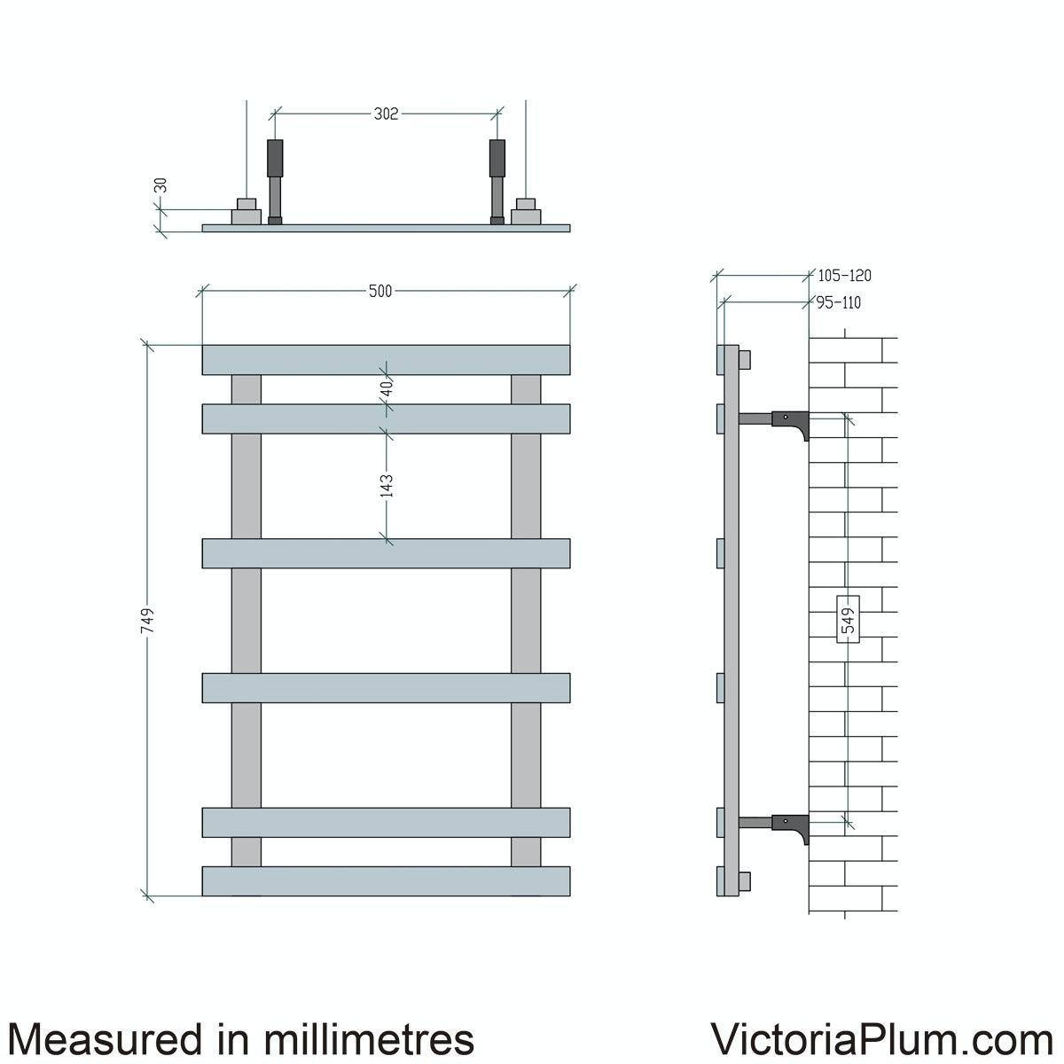 Dimensions for Mode Daisy 6 bar heated towel rail 749 x 500