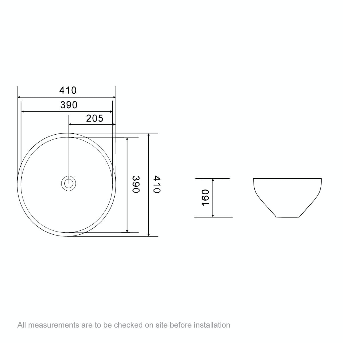 Dimensions for Orchard Lamond countertop basin 410mm