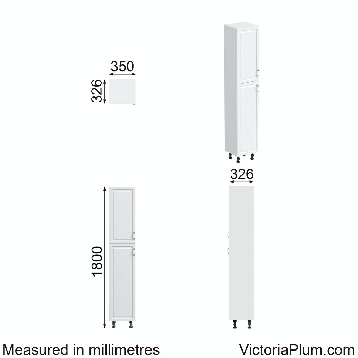 Dimensions for Orchard Florence white tall storage cabinet 350mm