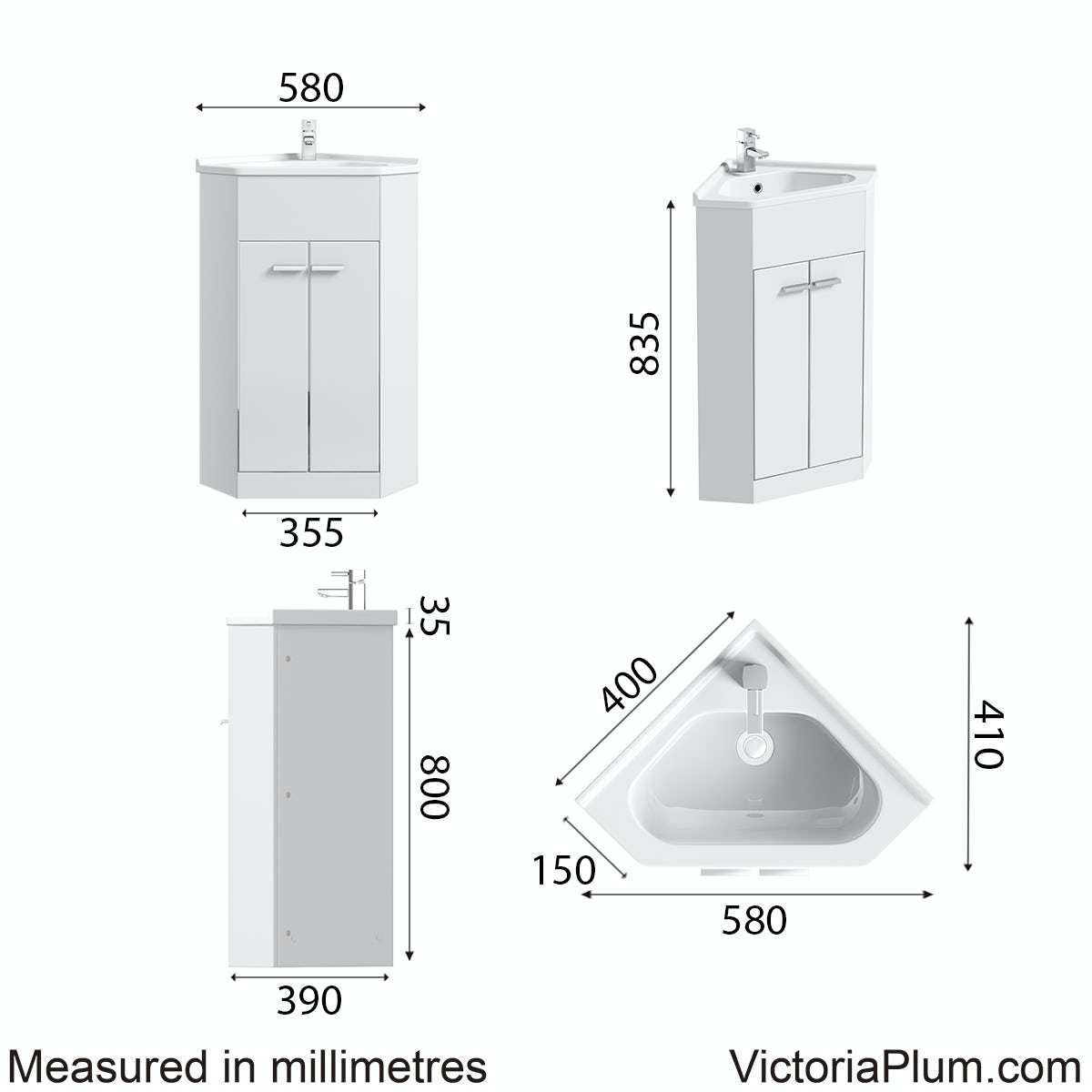 Dimensions for Orchard Compact white corner vanity unit