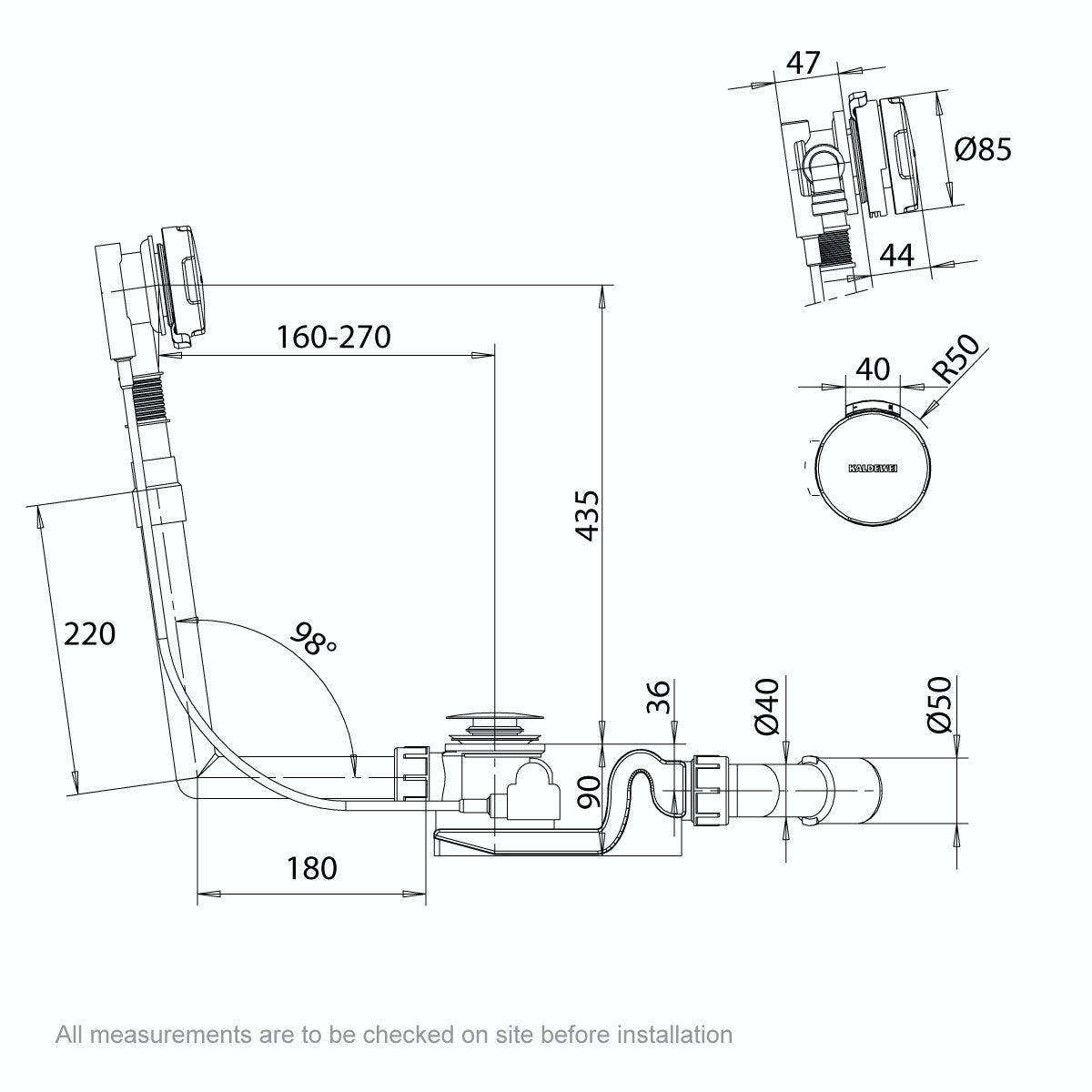 Dimensions for Kaldewei Comfort Level Plus standard bath waste filler and overflow set