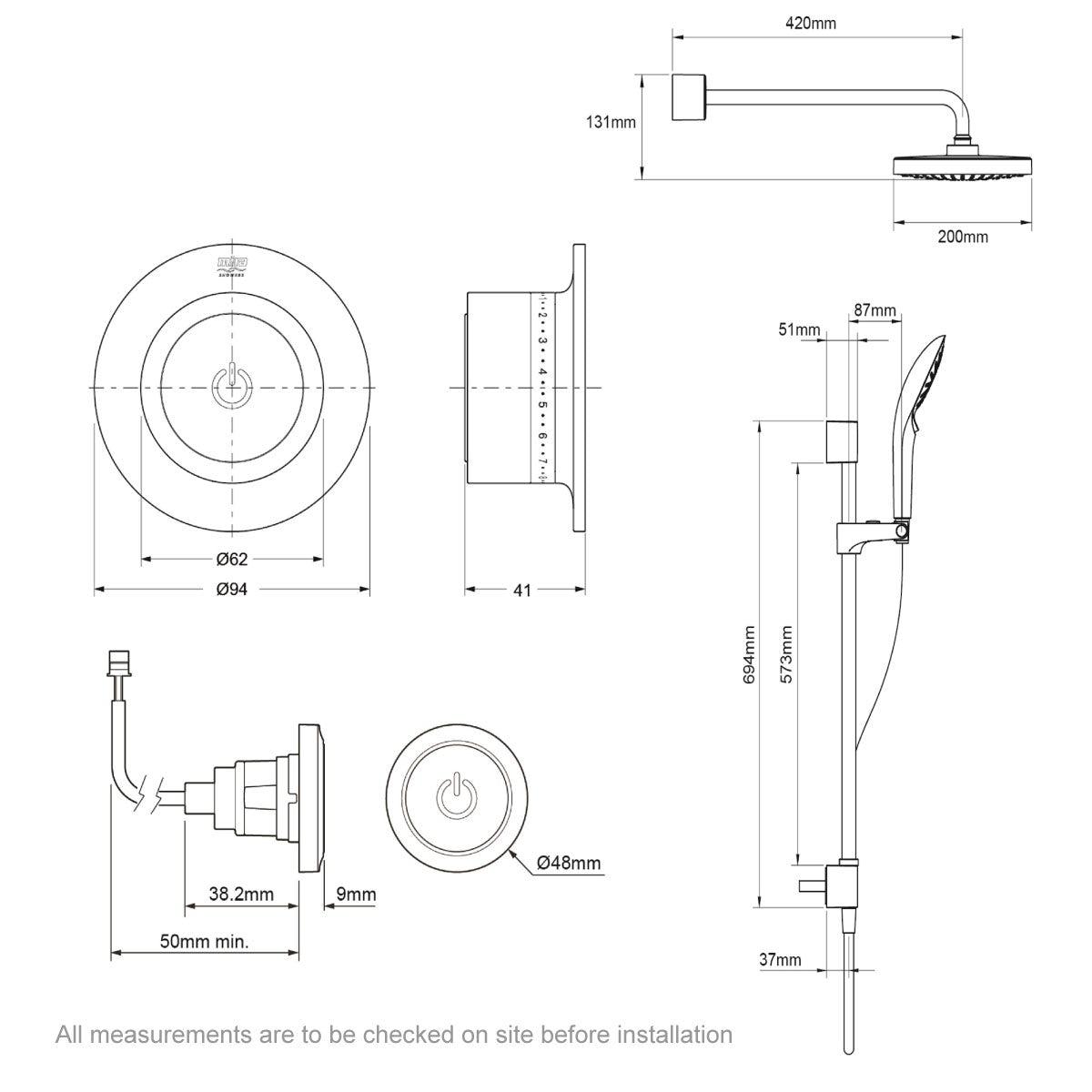Dimensions for Mira Mode dual rear fed digital shower standard