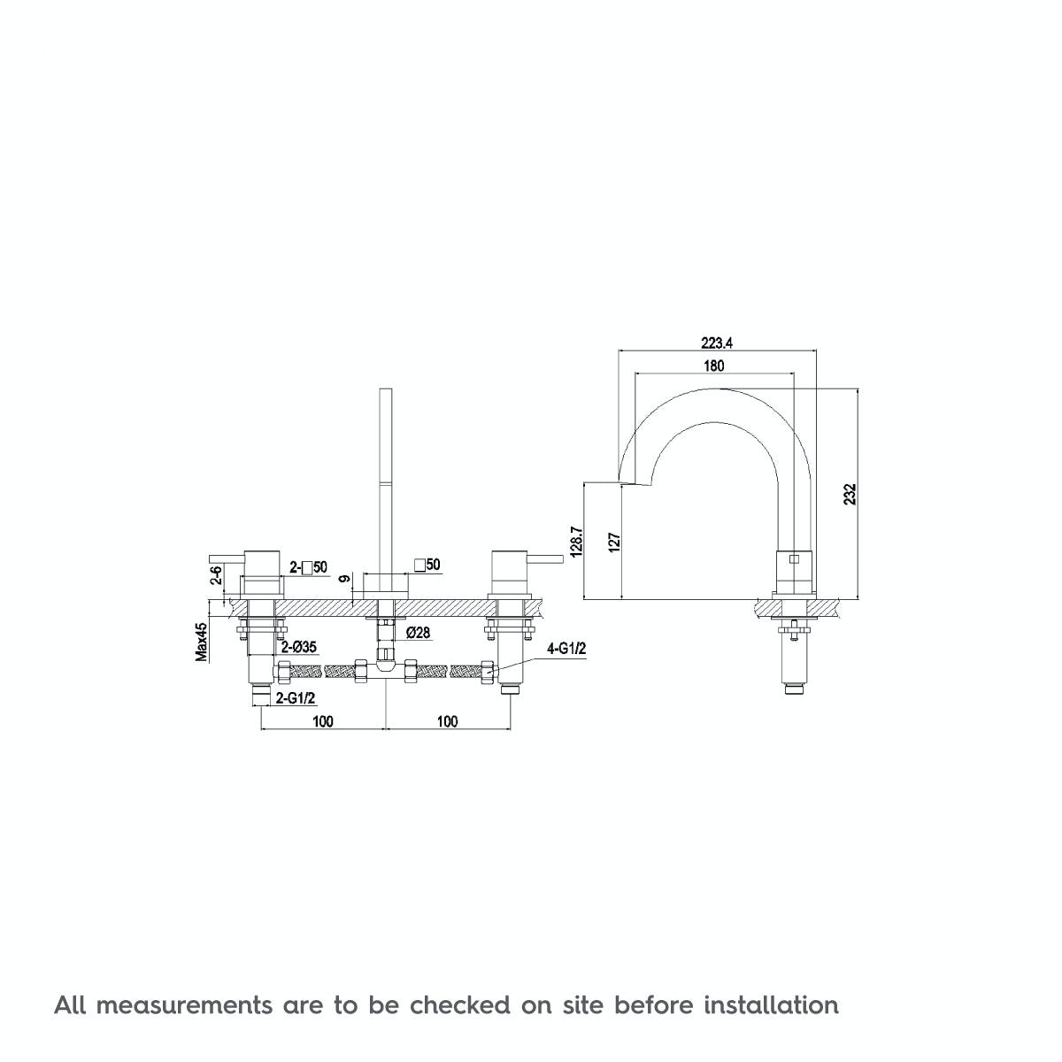 Dimensions for Mode Harrison bath mixer tap