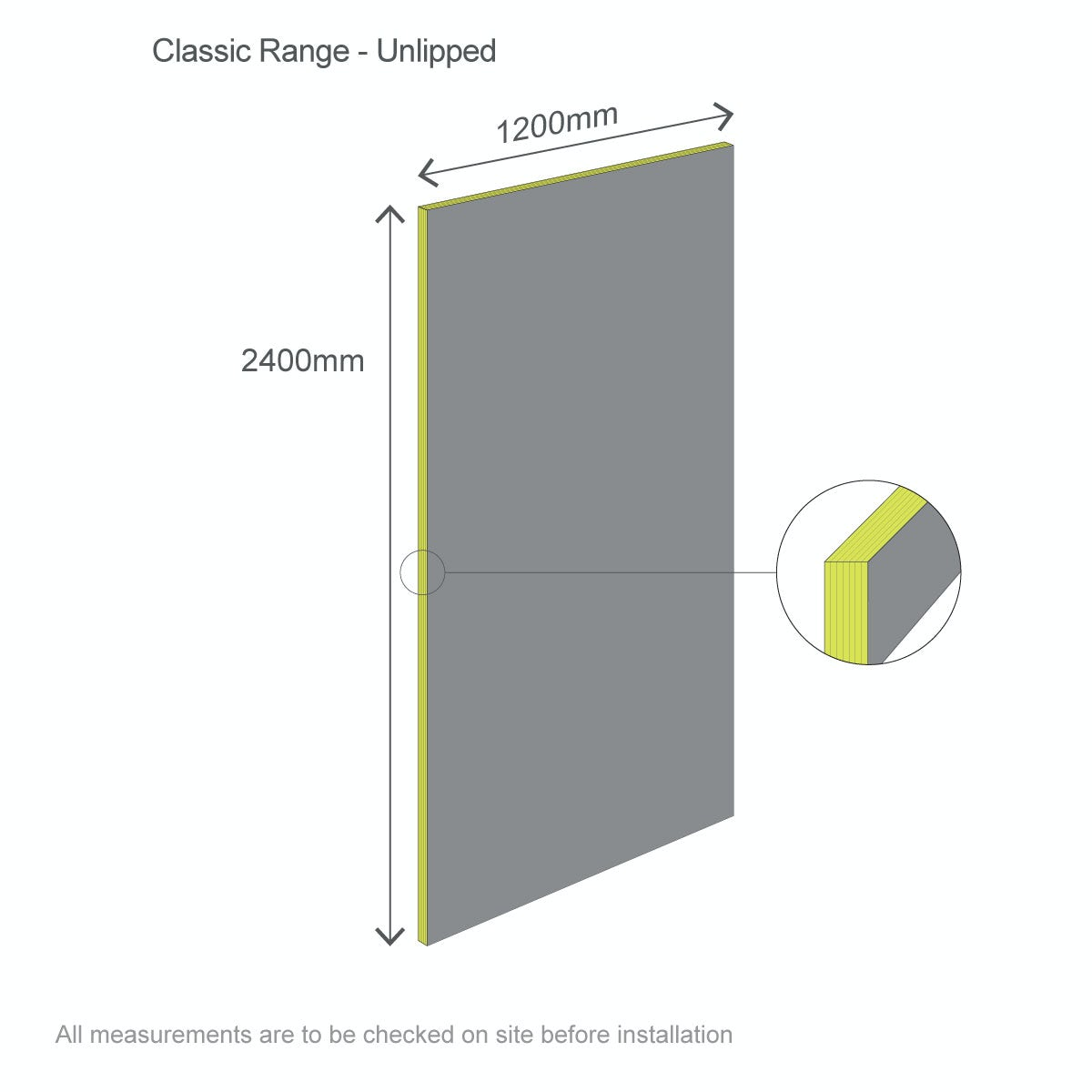 Dimensions for Multipanel Classic Monsoon unlipped shower wall panel 2400 x 1200