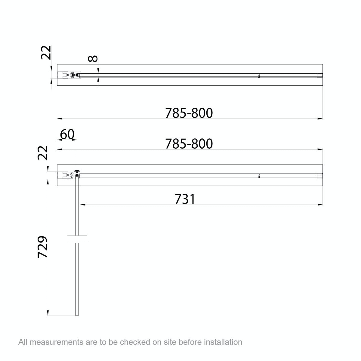 Dimensions for 8mm square top left handed hinged bath screen