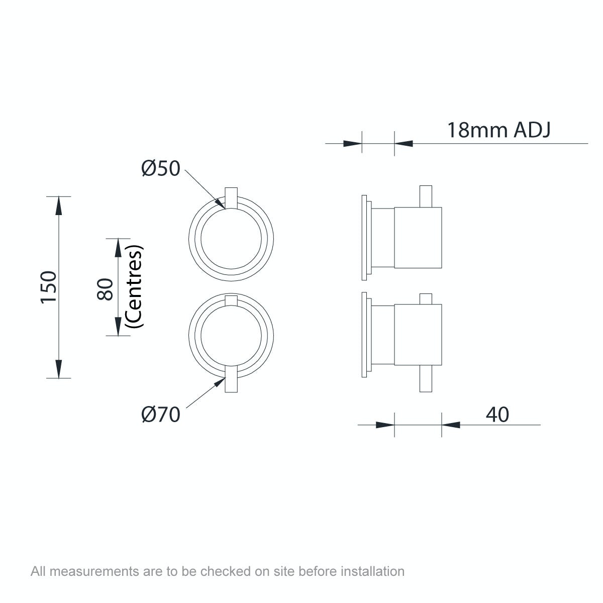 Dimensions for Mode Hardy round twin thermostatic shower valve with diverter
