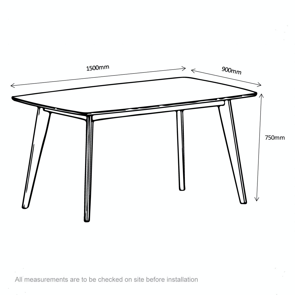 Dimensions for Archer dining table
