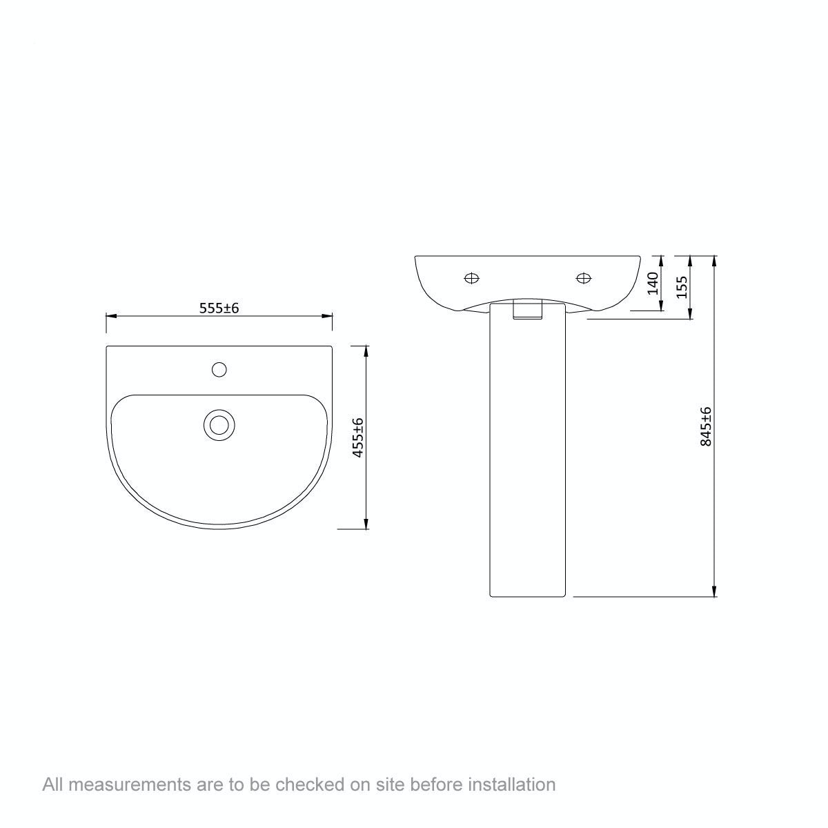 Dimensions for Mode Hardy 1 tap hole full pedestal basin 555mm