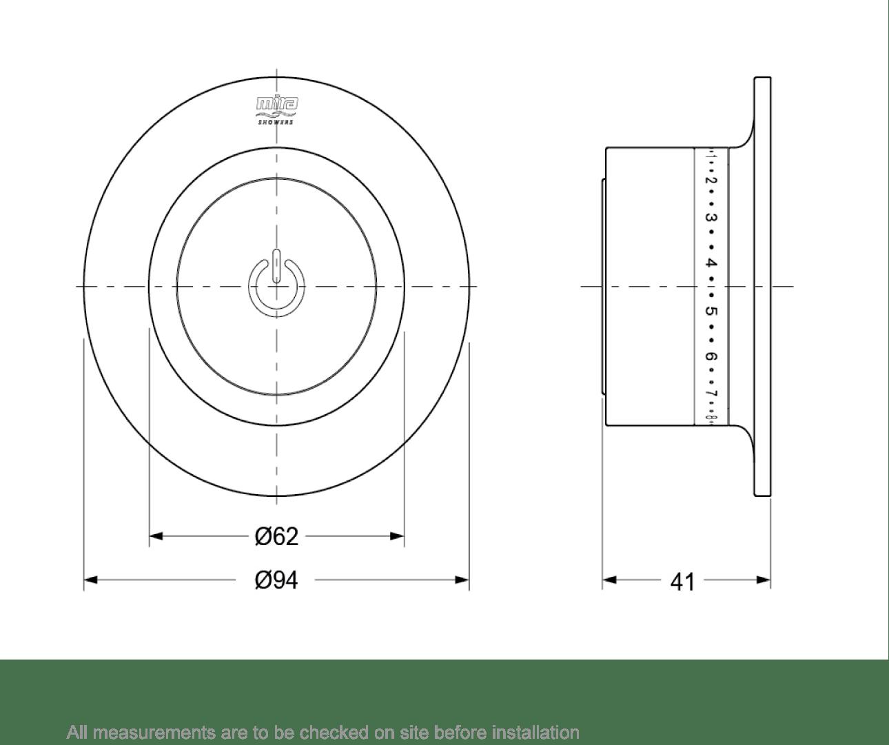 Dimensions for Mira Mode digital bath filler standard