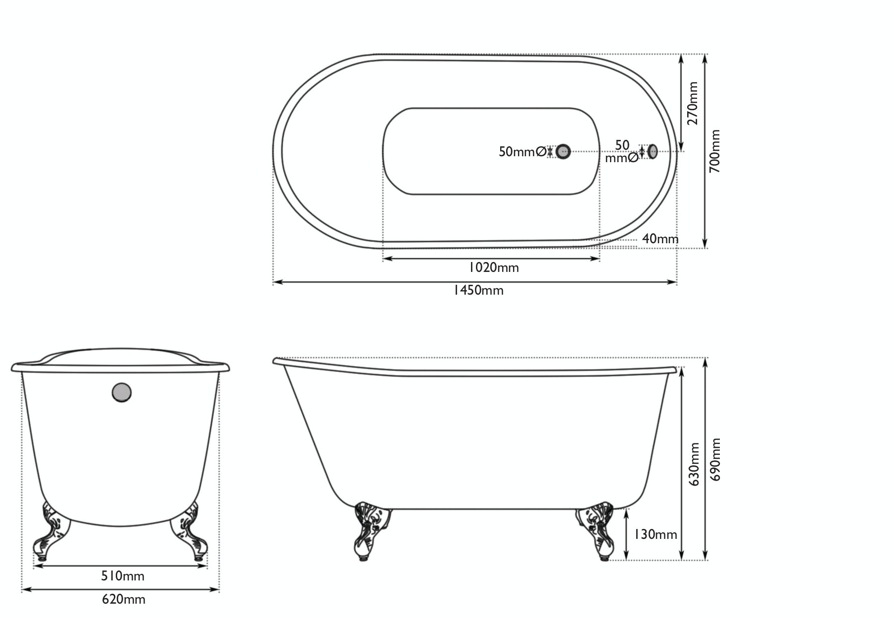 Dimensions for The Bath Co. Warwick misted green cast iron bath