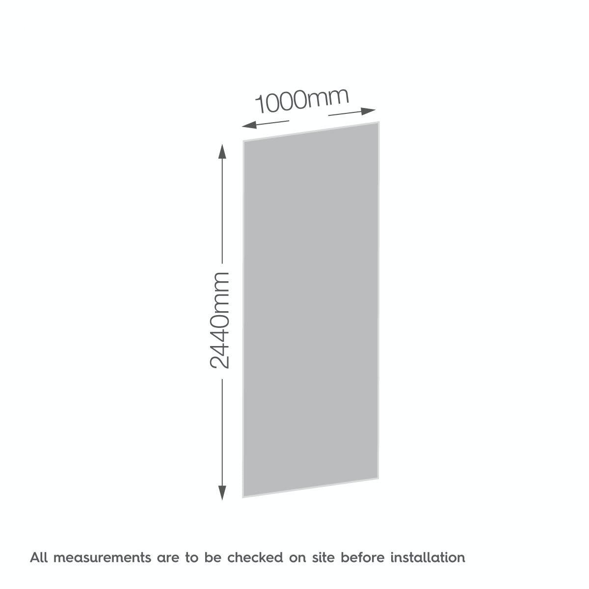 Dimensions for Zenolite plus earth acrylic shower wall panel 2440 x 1000