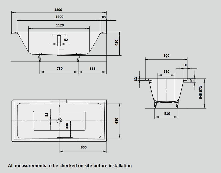 Dimensions for Kaldewei Puro Duo straight steel bath with leg set 1800 x 800 with no tap holes