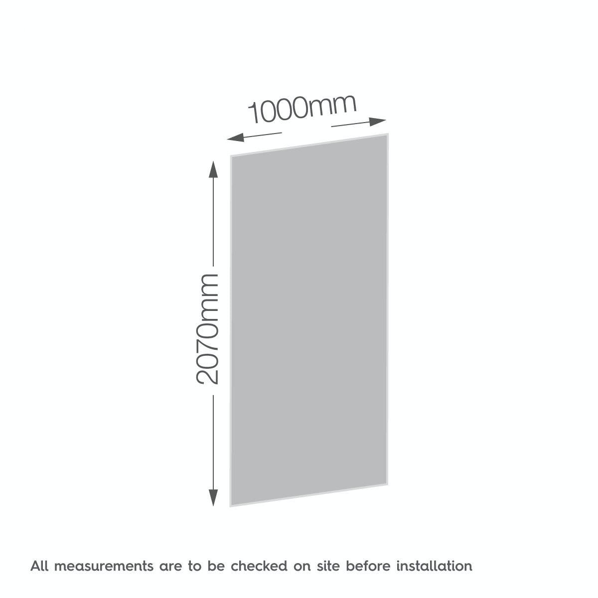 Dimensions for Zenolite plus earth acrylic shower wall panel 2070 x 1000