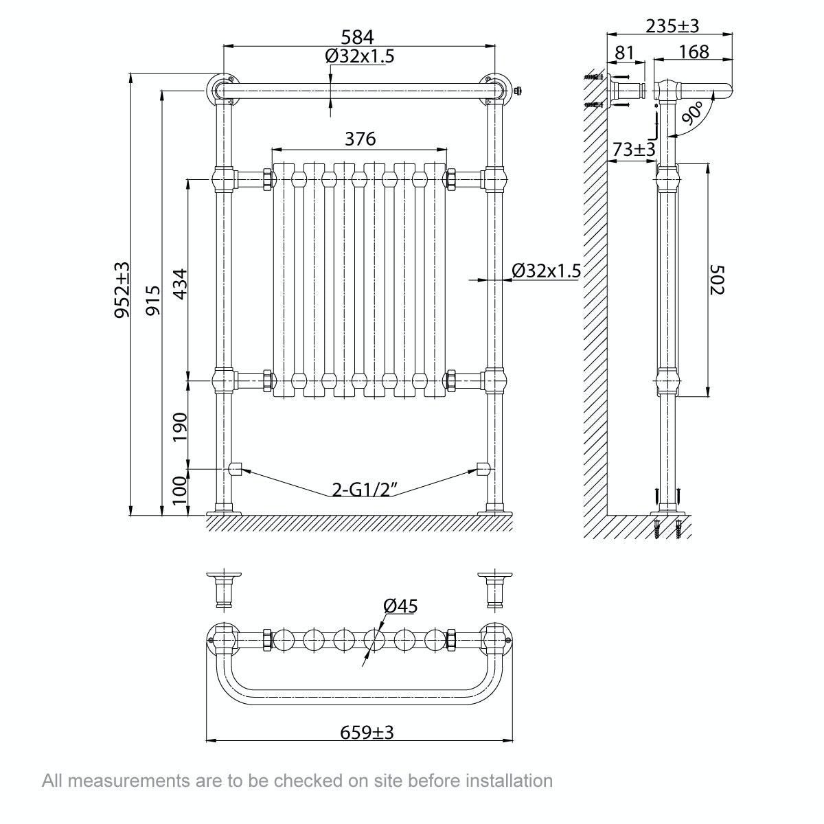 Dimensions for The Bath Co. Camberley radiator 952 x 659