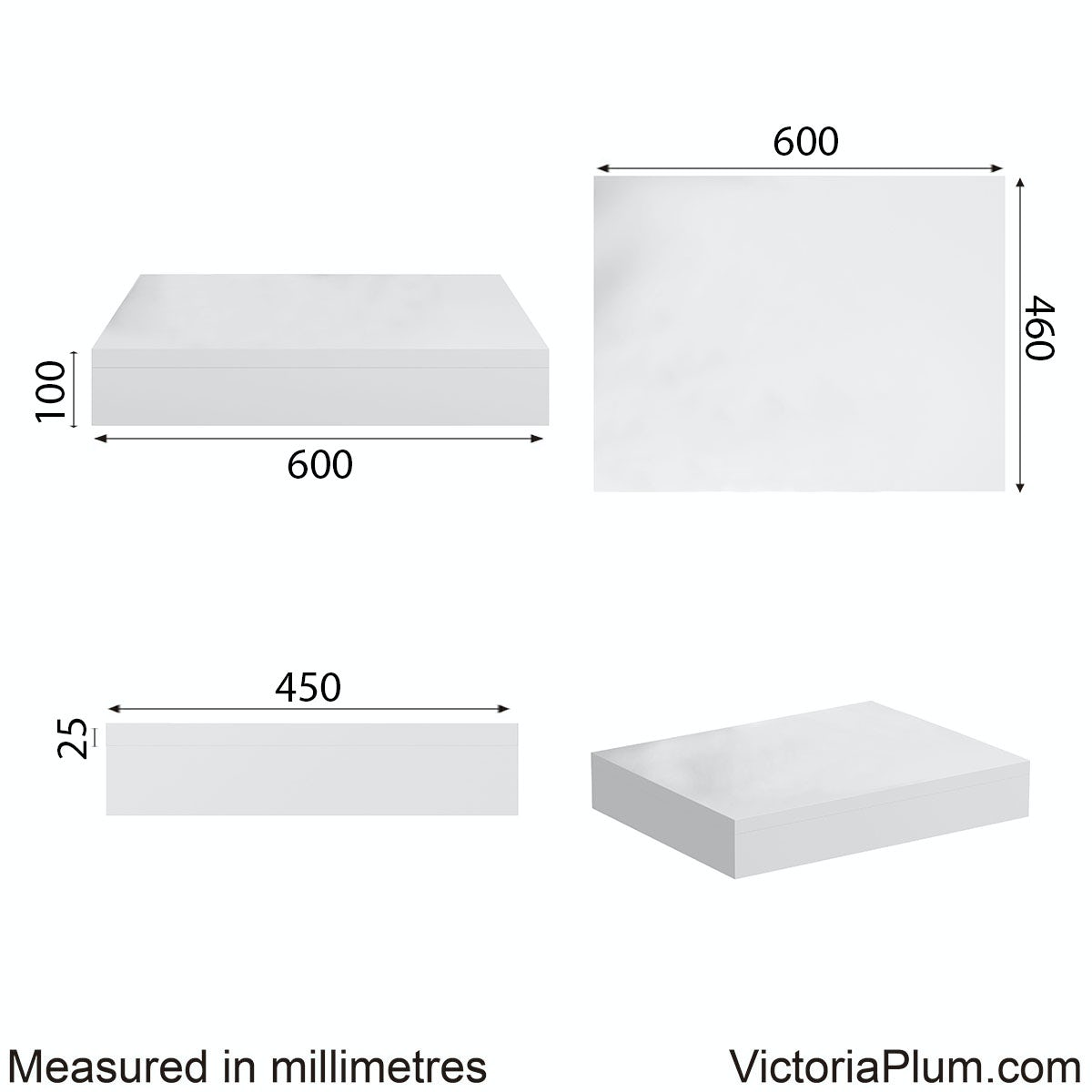Dimensions for Mode Orion white wall hung countertop basin shelf